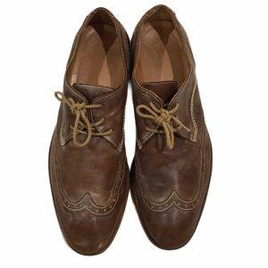 John Varvatos Mens Brown Wingtip Oxford Shoes